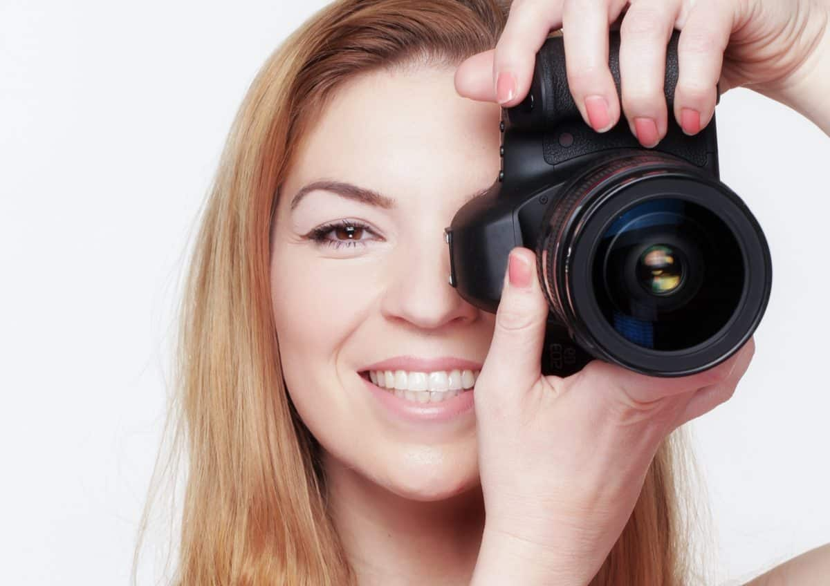 woman, lens, teeth, smile, young, pretty, girl, photo camera, photographer, equipment