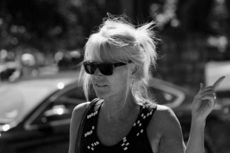 people, street, monochrome, portrait, woman, sunglasses