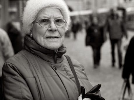 monochrome, street, portrait, people, grandmother, person