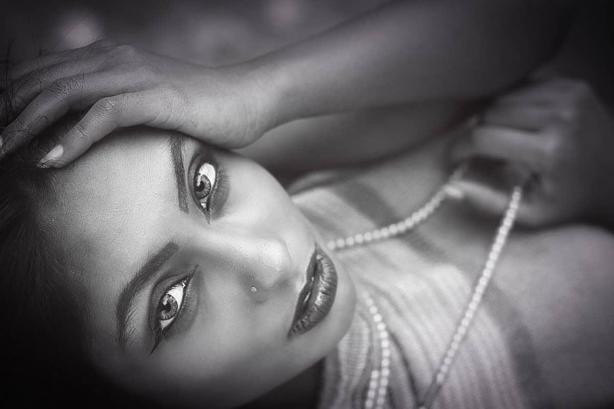 beau, femme, monochrome, photo mode, portrait, modèle, fille, visage