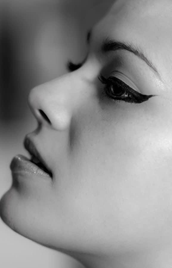 ojos, piel, labios, chica, mujer, cara, moda, retrato, monocromo