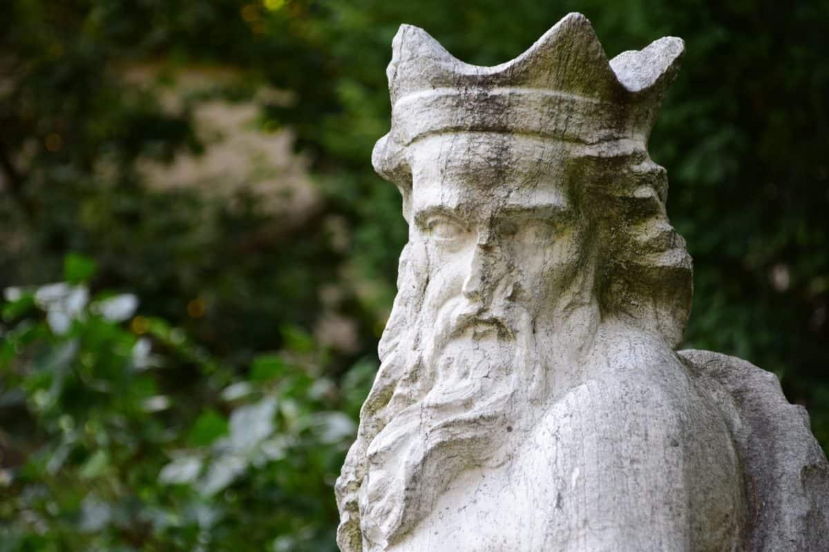Statua, re, marmo, arte, pietra, ritratto, giardino, foglia