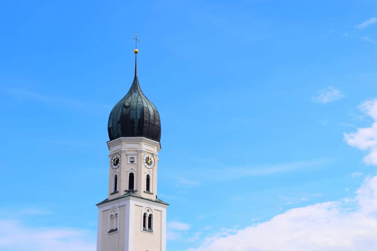 синьо небе, православна, архитектура, религия, църква, купол, кръст