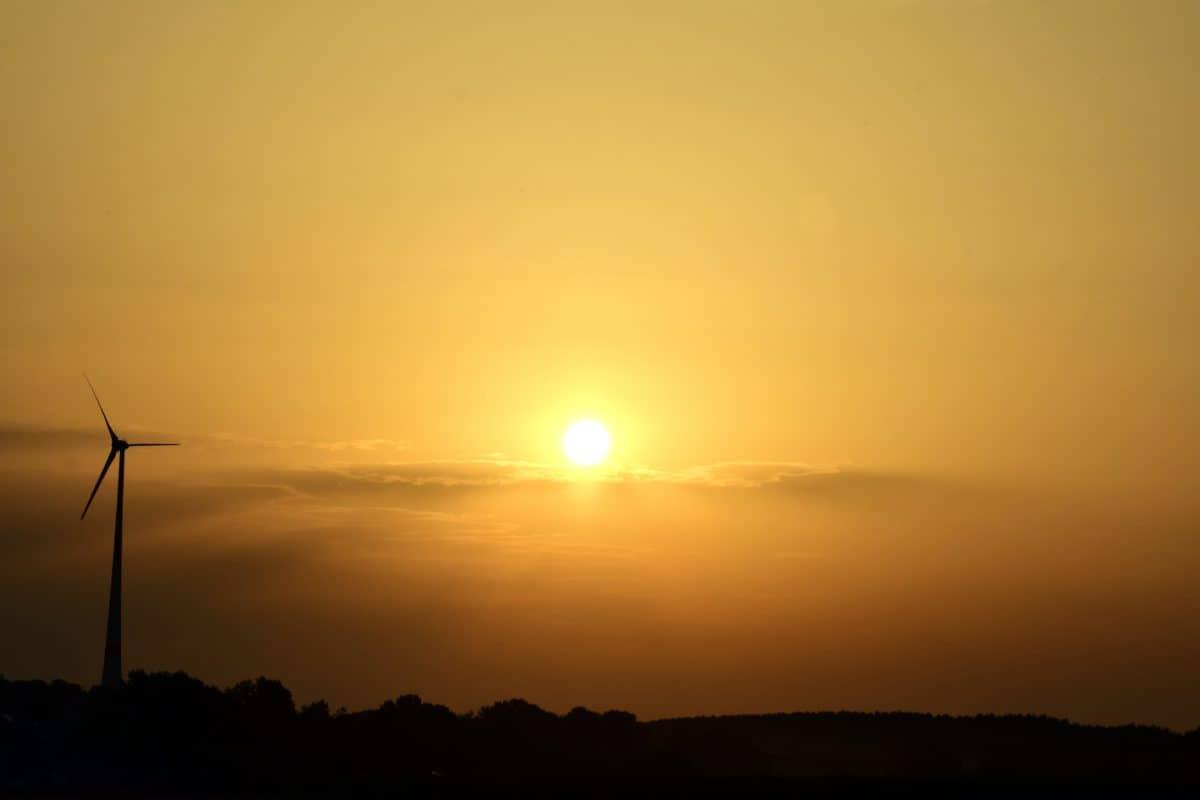 sky, dawn, sun, dusk, landscape, windmill, backlit, mist