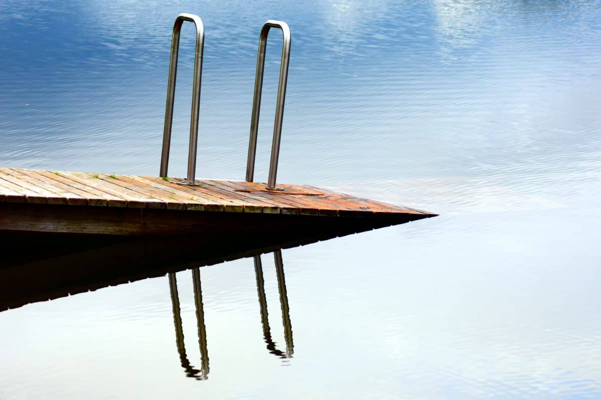 water, wood, ladders, reflection, object, blue sky