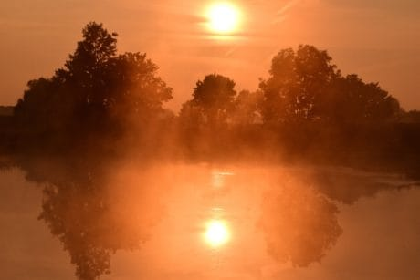 fog, sunrise, outdoor, lake, silhouette, sun, sky, nature, landscape
