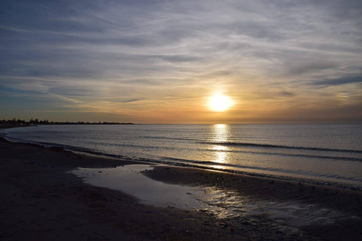 Océano, playa, mar, litoral, agua, atardecer, sol, playa