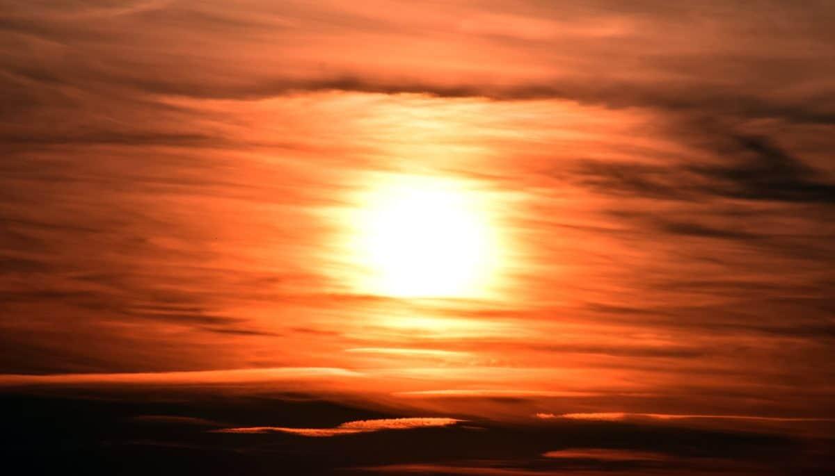 Sun, sunset, sky, sunrise, ilta, maisema, punainen