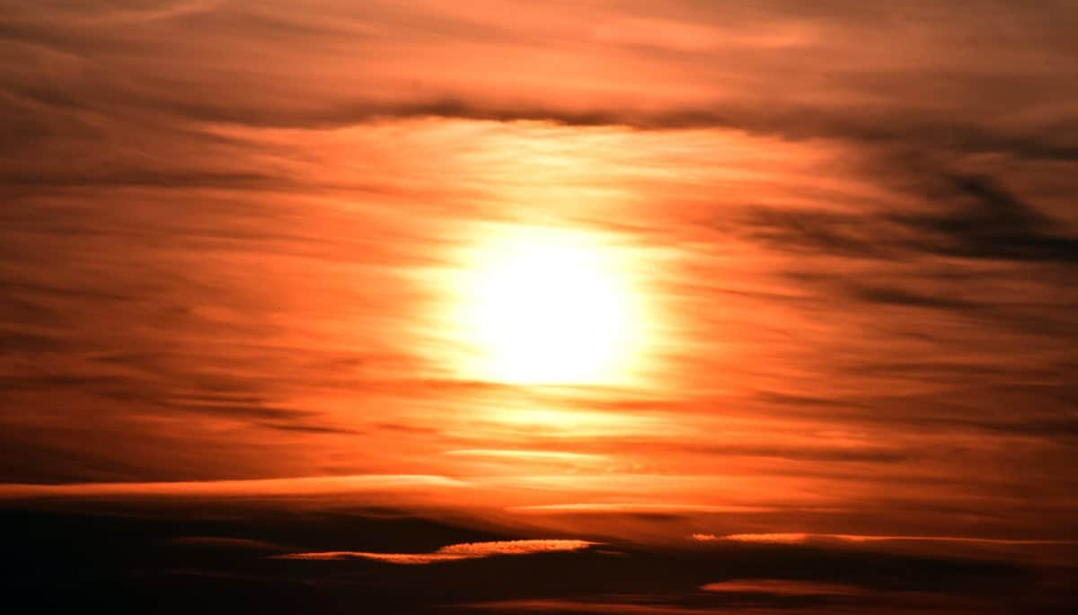 Güneş, günbatımı, gökyüzü, gündoğumu, akşam, peyzaj, kırmızı