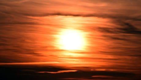 sol, atardecer, cielo, sol, noche, paisaje, rojo