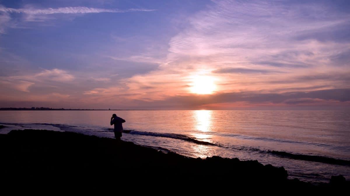 tramonto, mare, cielo, mare, acqua, sole, spiaggia, litorale, all'aperto