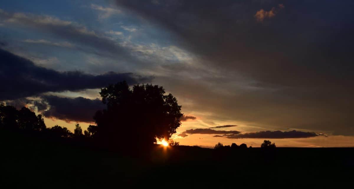 sun, dusk, silhouette, landscape, sky, dawn, backlit, sunset