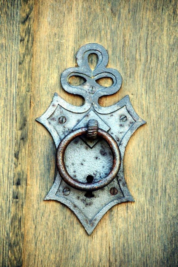 Arabesque, vecchia, porta d'ingresso, metallo, ferro, legno, dettaglio, oggetto