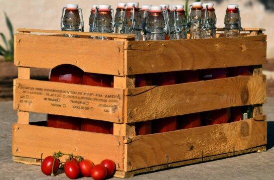 tomate, boîte, objet, lumière du jour, verre, bocal