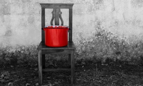 monochrome, red, outdoor, furniture, object