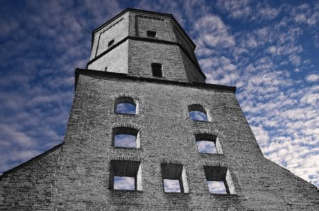 blue sky, cloud, facade, architecture, old, wall, tower, outdoor