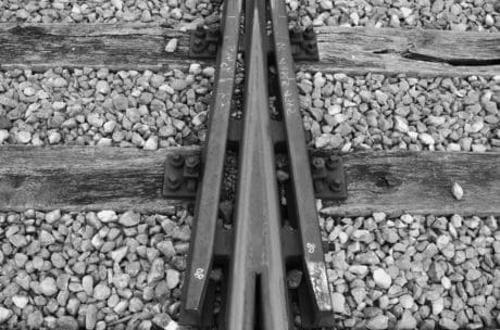 railway, train, locomotive, monochrome, gravel, ground