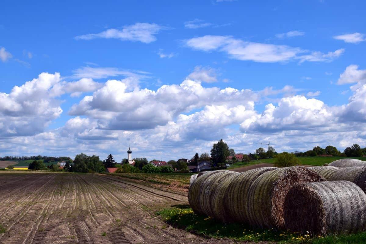 Landwirtschaft, Himmel, Landschaft, Natur, Feld, Stroh, Tageslicht, Wolke, Landschaft