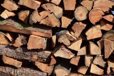 firewood, woodpile, bark, wood, brown