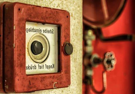 segurança, porta, antigo, retrô, alarme, alarme de incêndio
