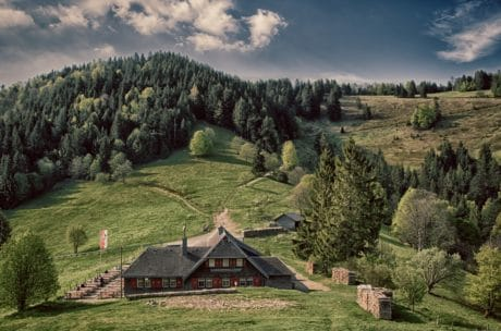 landscape, house, nature, hill, tree, wood, mountain, barn