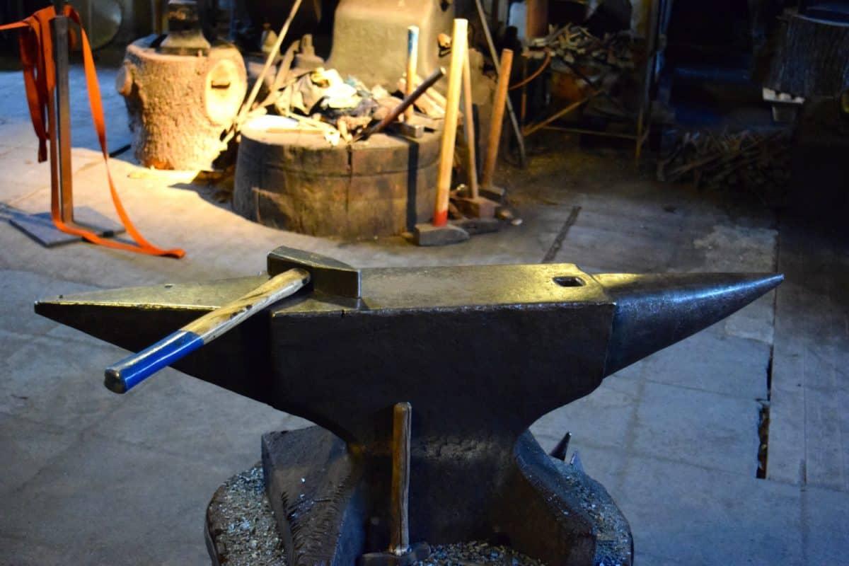 atelier, acier, marteau, enclume, outil, métal