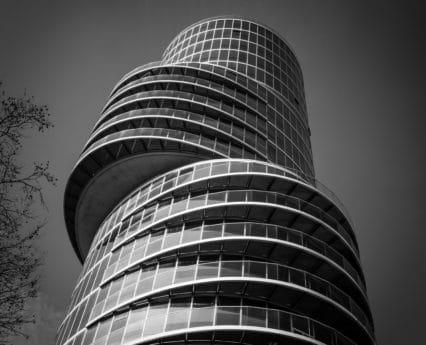 moderni, yksivärinen, arkkitehtuuri, ikkuna, torni, kaupunki, keskusta, city