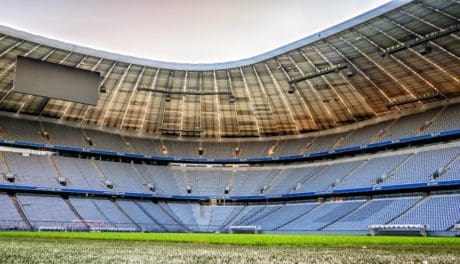 football, champ, architecture, ciel, stade de football, structure, plein air