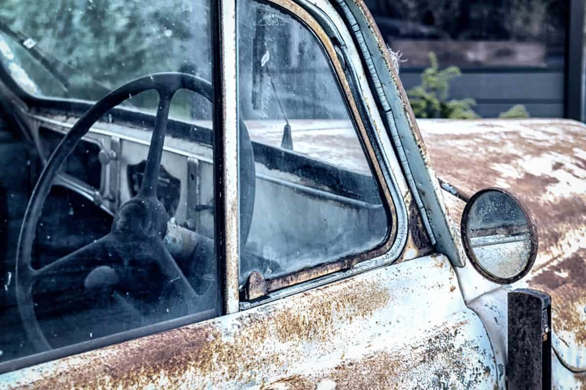old, vehicle, car, outdoor, metal, mirror
