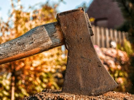 tool, ax, wood, metal, rust, nature, iron