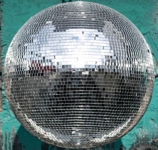 miroir, boule, objet, réflexion, disco, musique