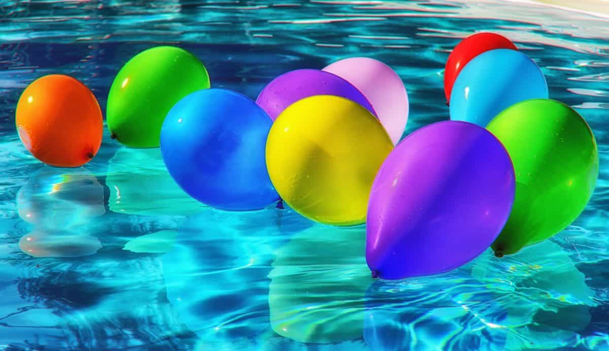 swimming pool, colorful, balloon, water, reflection, summer, wet