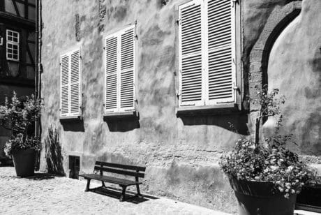 monochrome, house, street, window, architecture, bench, outdoor