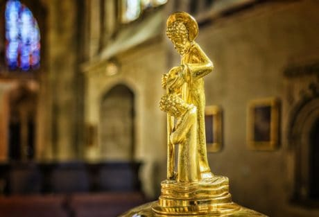 gold, metal, religion, sculpture, statue, architecture, art