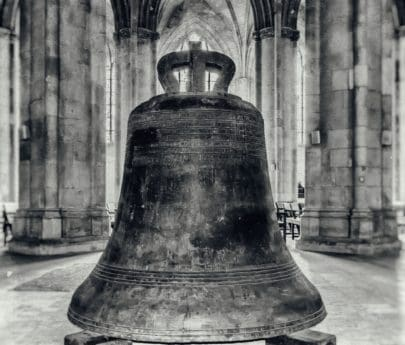 monochrome, interior, object, bell, antique, ancient, iron, architecture, old