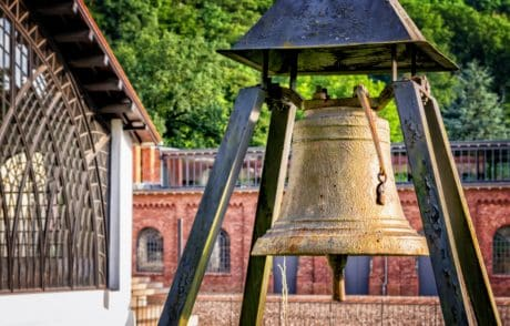 architecture, tree, outdoor, bell, metal, bronze, iron, object