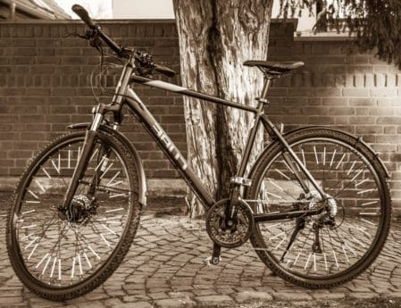 mountain bike, monochrome, wheel, vehicle, biker, bicycle, handlebar