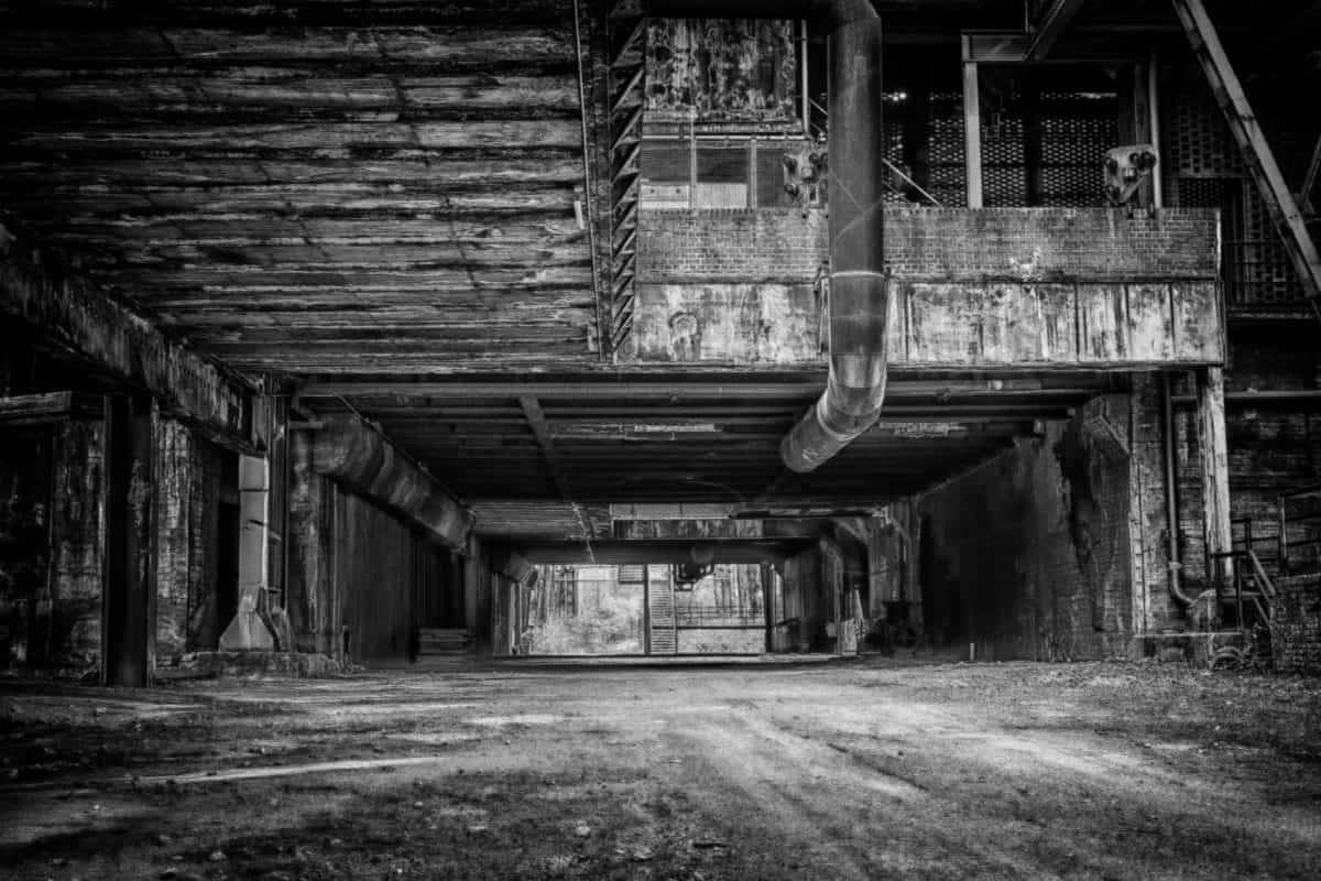abandonado, edificio, almacén, hormigón, construcción, monocromo