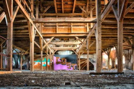 hall, warehouse, old, factory, metal, construction