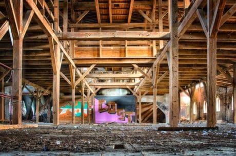 salón, almacén, viejo, fábrica, metal, construcción