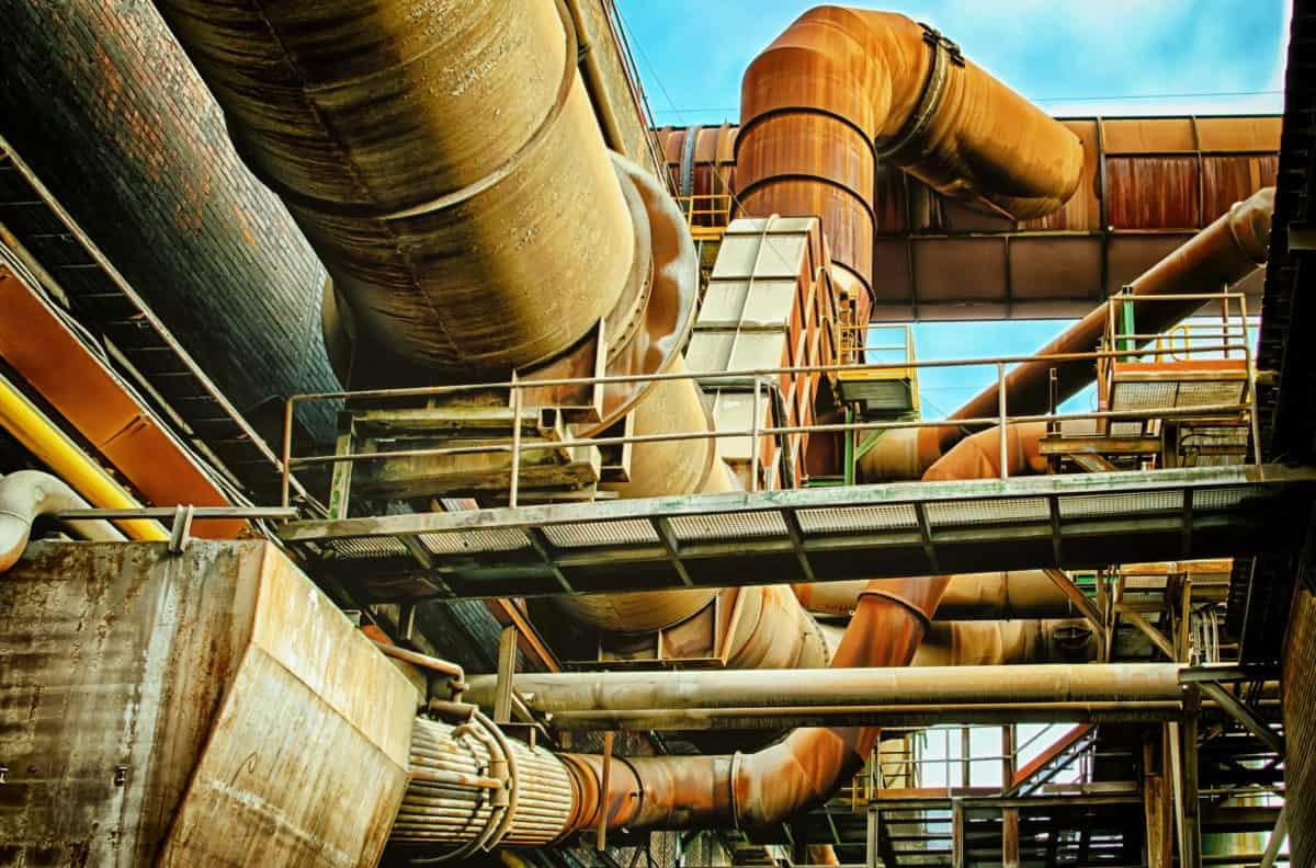 fábrica, trabajo, construcción, metal, pipa, industria, acero del puente,