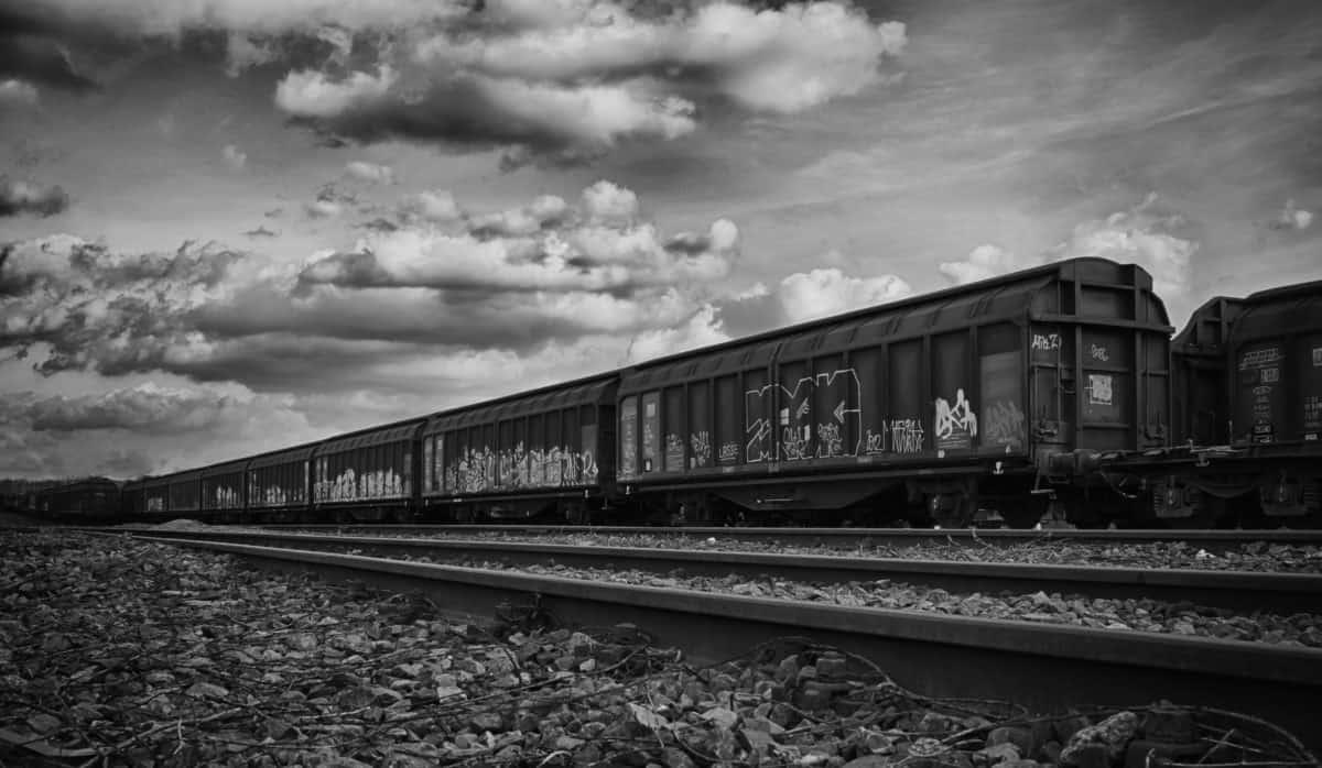 monocromatico, ferrovia, veicolo, motore, treno, locomotiva, vagone