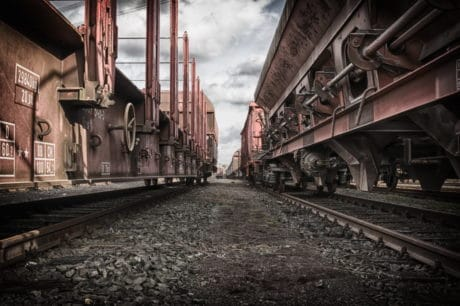 Gare, fer, locomotive, acier, fer, train, industrie