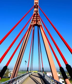 bridge, architecture, blue sky, road, transport, construction