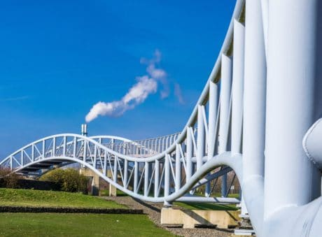 blue sky, bridge, architecture, structure, river, city, landmark, construction, iron