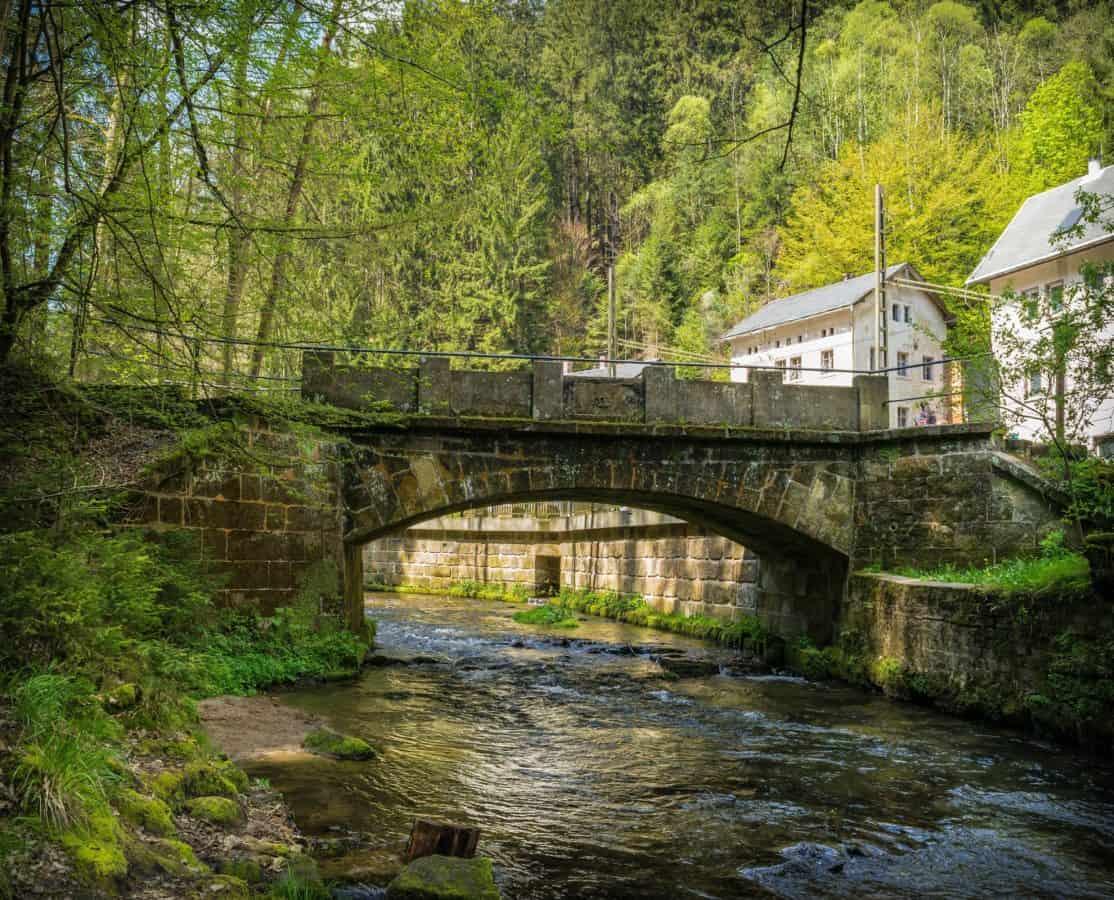 landscape, water, river, bridge, wood, nature, stream, stone