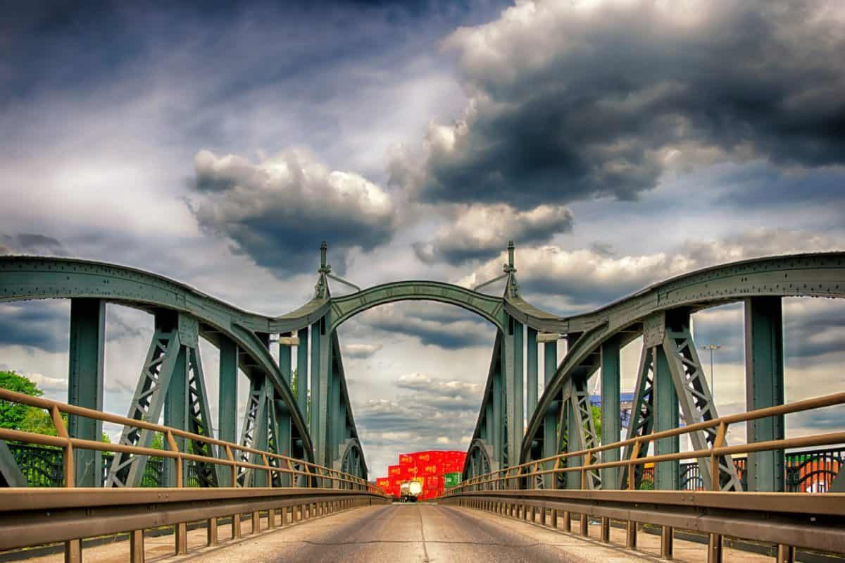 Brücke, Himmel, Architektur, Struktur, Bau, Stahl, Eisen, Straße, Wasser