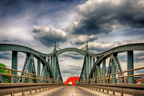 bridge, sky, architecture, structure, construction, steel, iron, road, water