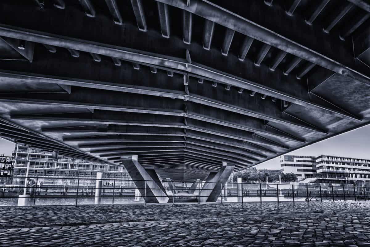 monochrome, bridge, structure, architecture, city, outdoor, construction