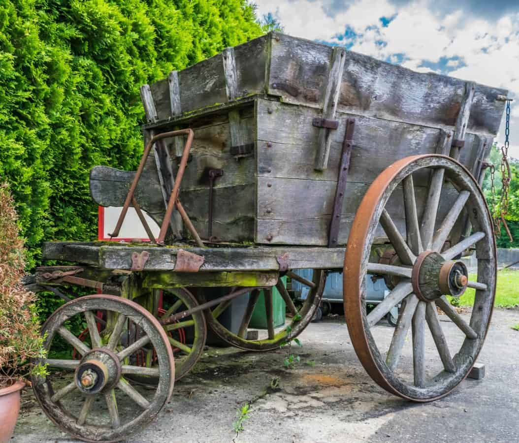 wood, wheel, cart, old, carriage, wagon, antique, outdoor